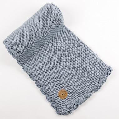 Manta algodón orgánico NIU Crochet Blue