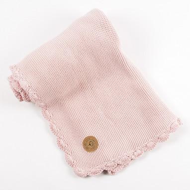 Manta algodón orgánico NIU Crochet Pink