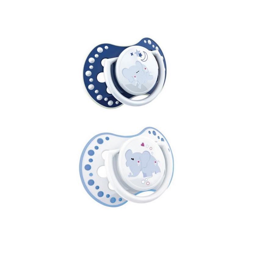 Pack dos chupetes 6-18 meses night&day lovi azulon azul