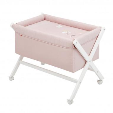 Minicuna tijera madera be moon rosa/bco 55x87x74 cm CAMBRASS
