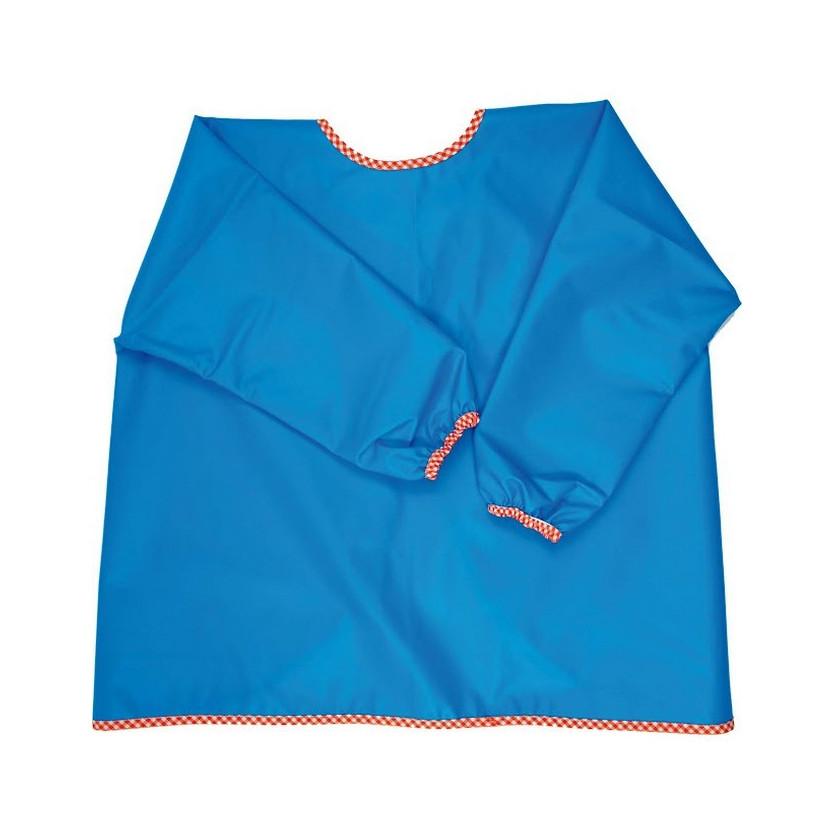 Babero plastificado con mangas forcada azul
