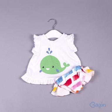 Conjunto camiseta ballena y culetin BAYON