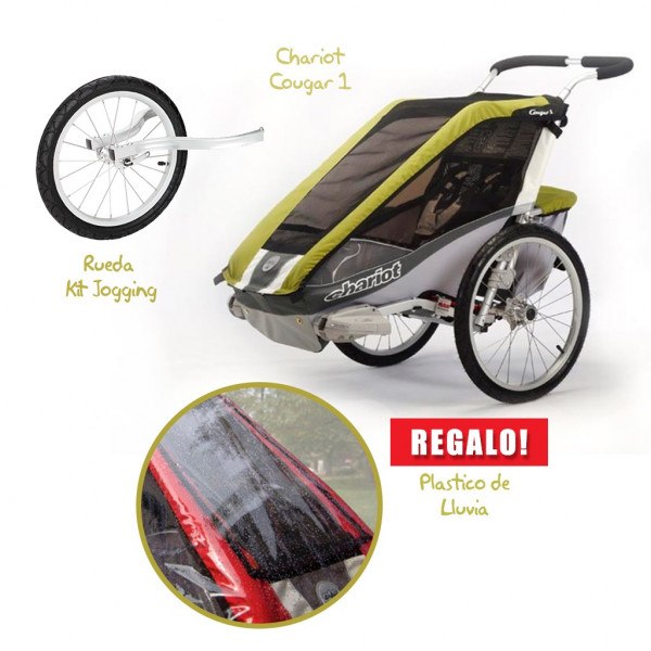 Coche CHARIOT Cougar 1 + Kit Jogging + Rain Cover de REGALO!!!