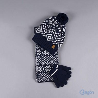 Conjunto gorro bufanda y guantes reversible BAYON