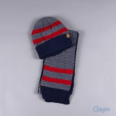 Conjunto gorro bufanda y guantes bandas BAYON