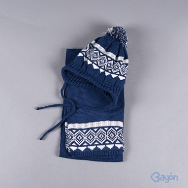 Gorro pompon con bufanda greca BAYON