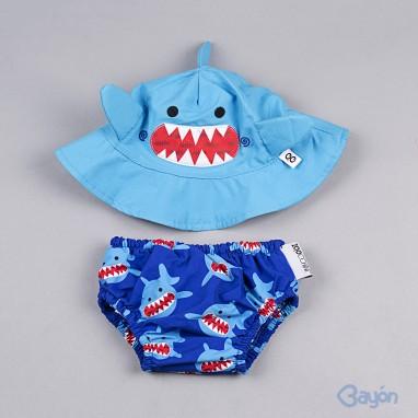 Conjunto bañador y gorro ZOOCCHINI Tiburón