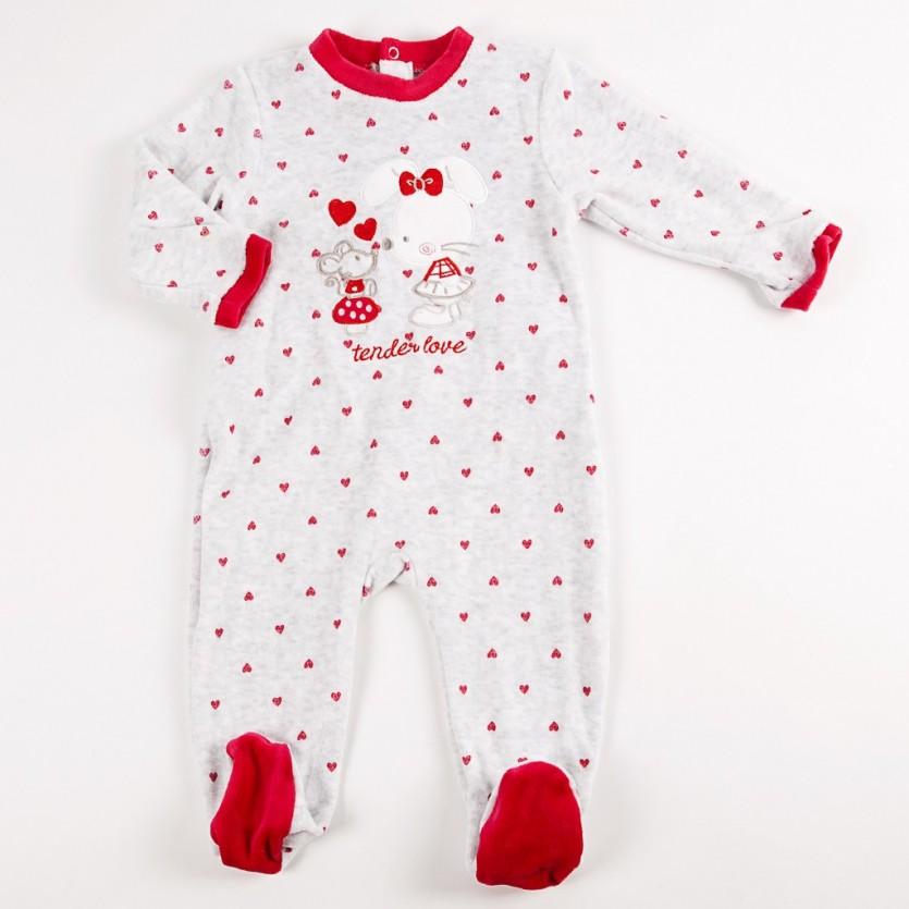 Pijama entero tundosado corazones BAYON